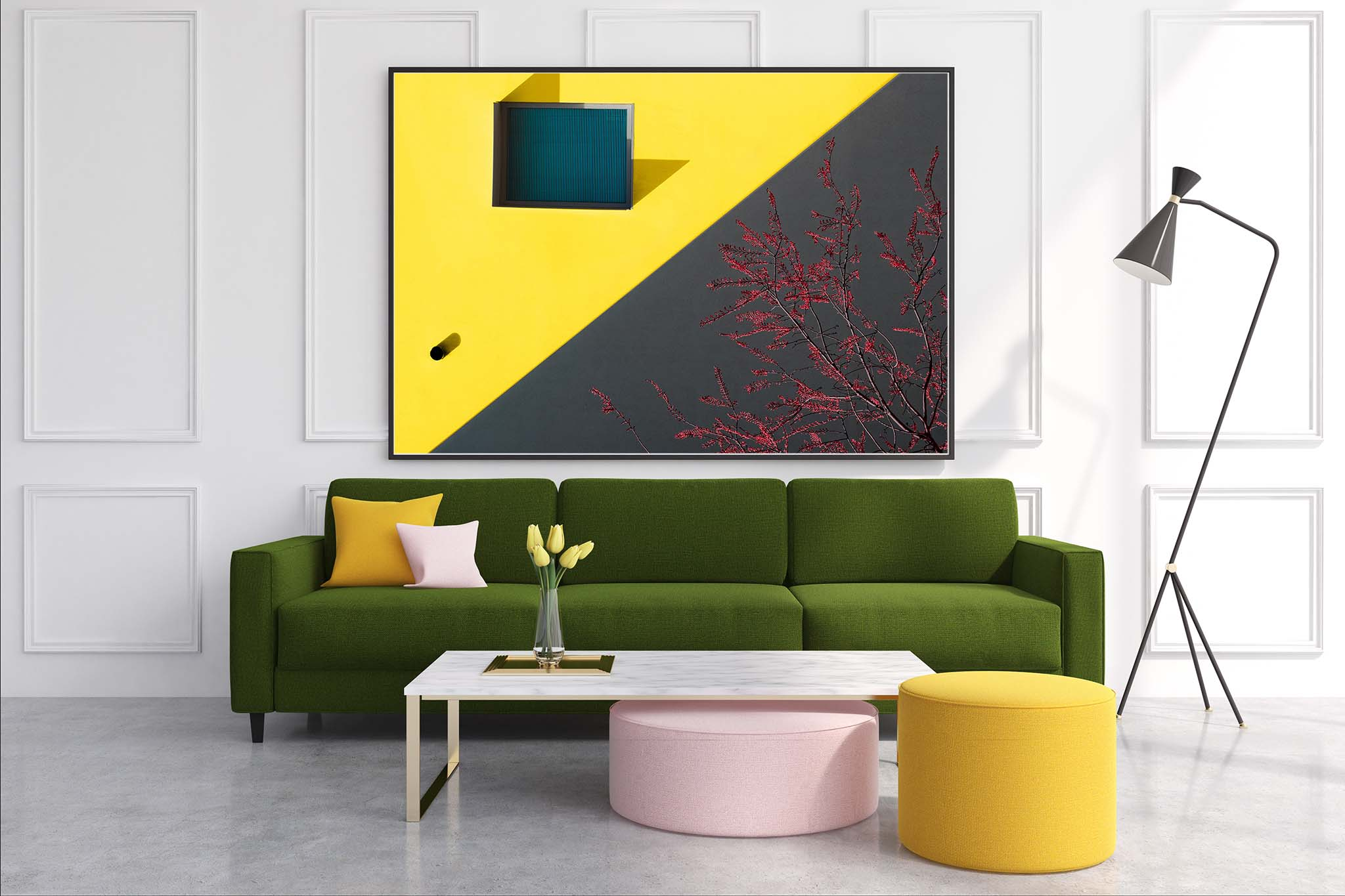 White living room interior with a dark green sofa, colored cushions lying on it and a horizontal fine art print hanging above it.