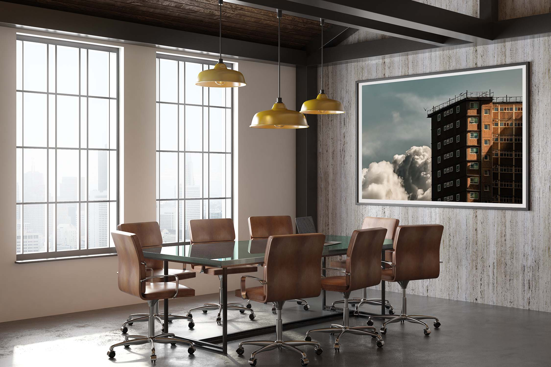 Glass conference room with leather chairs, blank white poster on concrete wall and big windows in loft meeting room. 3D render