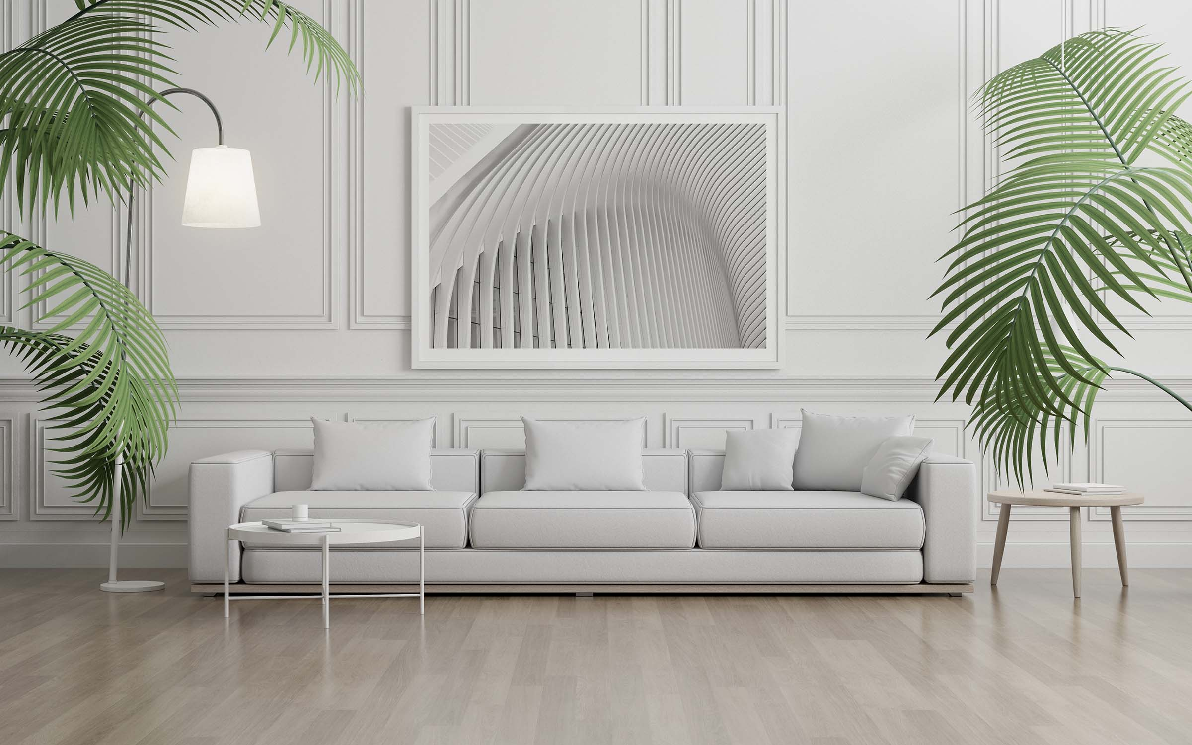 fint art picture framed and sofa with small plant on white classic wall.