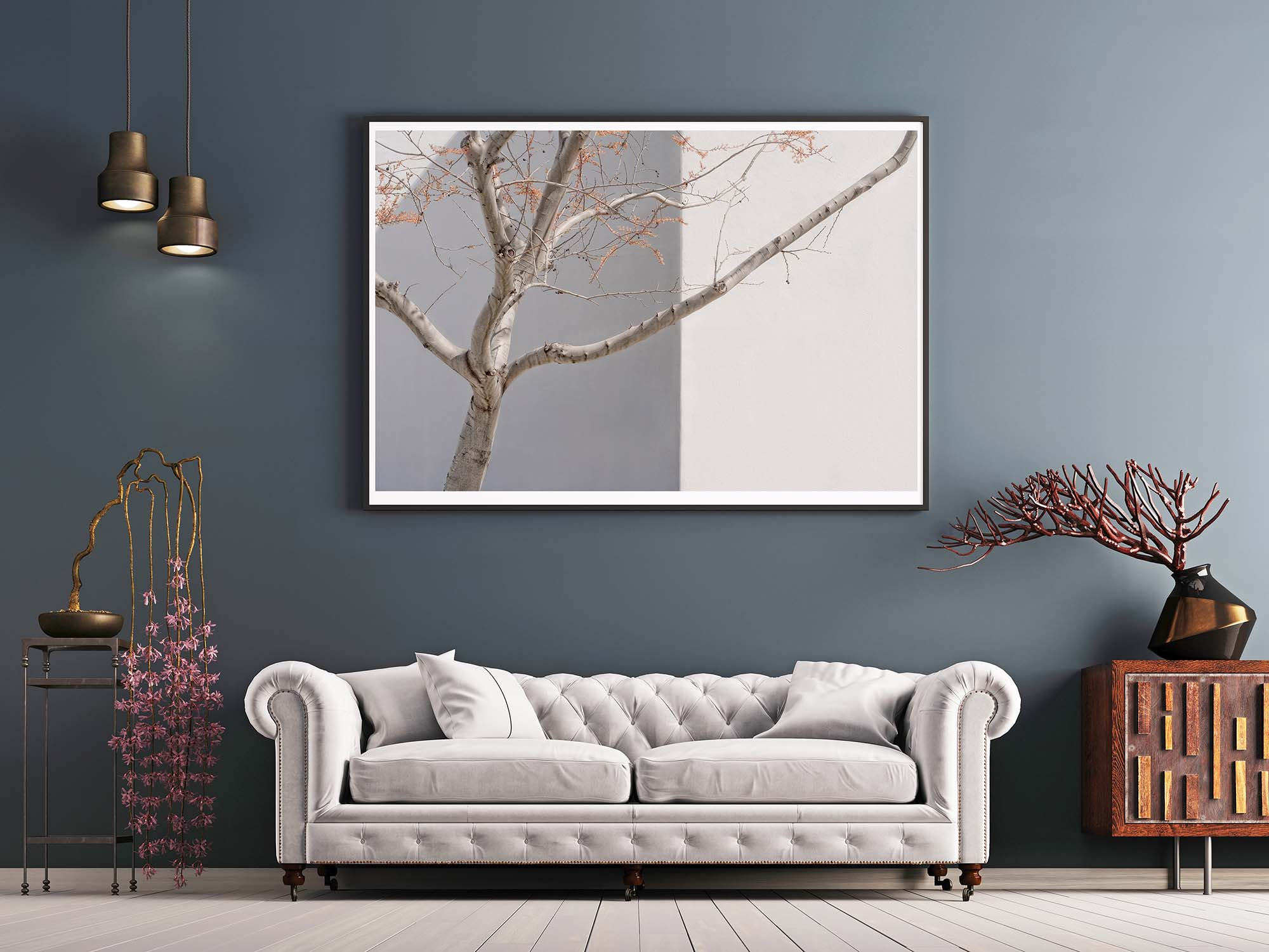 tree poster on gray wall in interior classical style with white sofa, and decor.