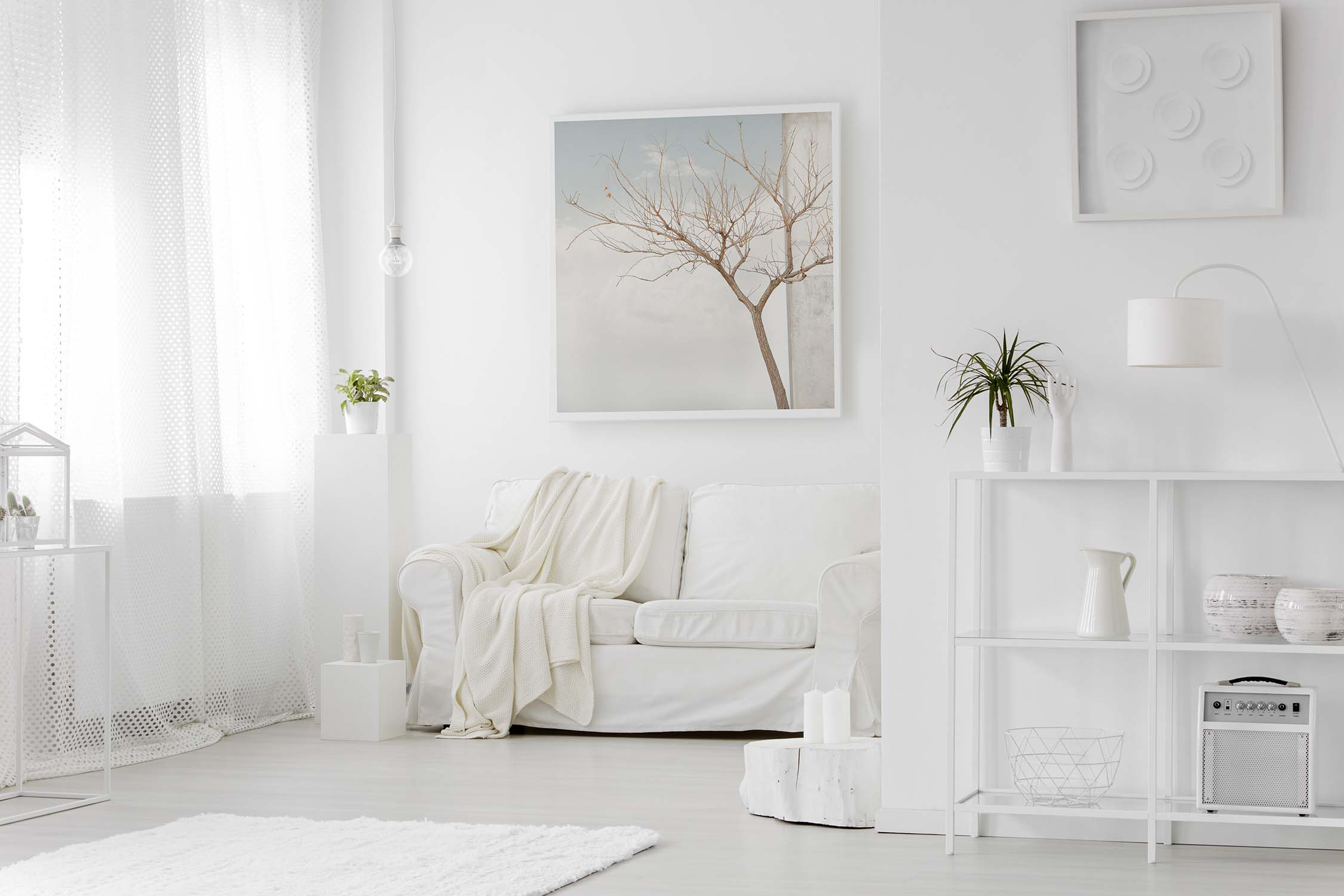 Simple white living room interior with fine art photography